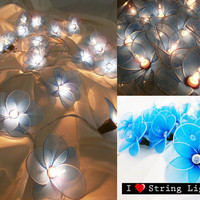 Blue Colour Nylon flower fairy String Lights For Wedding and House decoration (20 Flowers/Set)