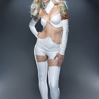XXS White PVC stockings Artifice Clothing (photoshoot sample, ready to ship)