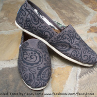 Handpainted Custom Toms Shoes  Large Paisley by FancyToms on Etsy