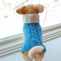Dog Sweater Hand Knit Cable Babette XSmall SALE by jenya2 on Etsy
