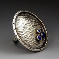 Large Sterling Silver Lapis Saucer Ring, Statement Ring