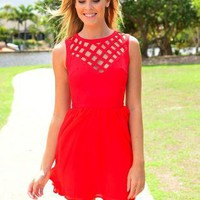Red Sleeveless Dress with Cutout High Round Neckline
