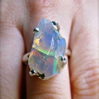 Moonstone Opal Raw Crystal Ring