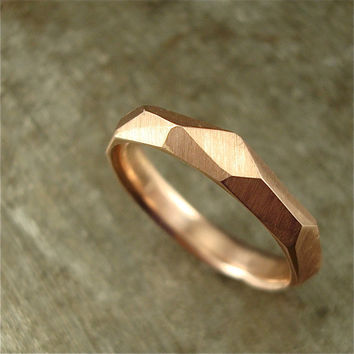 14k rose gold - Chiseled Ring - 3mm wide