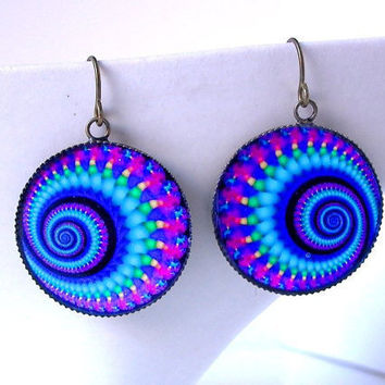 Rainbow Earrings Psychedelic Fractal Jewelry Raver by FireGrog