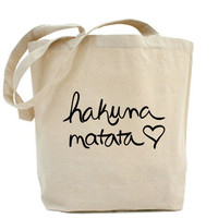 Hakuna Matata Large Cotton Shopping Bag Canvas Tote by ShopRIC