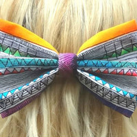 Aztec bow hair clip  big bow  bow barrette  by VintageBowBoutique