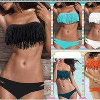 Zicac Beauty Women Favor 2pcs Padded boho fringe top strapless bikini Swimwear 6 Color Bikini set SEX Swimwear Women's Strapless Top (black, L US-10(L)): Clothing