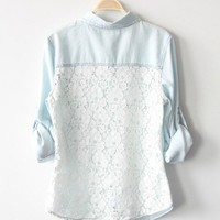 BlueBand  Light Blue Vintage Denim Shirt With Lace Back