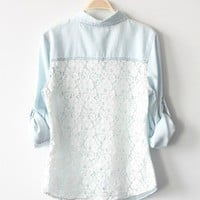 BlueBand — Light Blue Vintage Denim Shirt With Lace Back