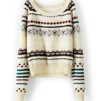 Loose Beige Tribal Print Sweater