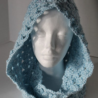 Hooded Scarf - Women Sm/Med or Teen - Soft Blue