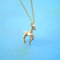 Bambi Necklace, Cute Lovely yound deer Bambi Disney Necklace