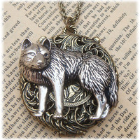 Steampunk Wolf Locket Necklace Vintage Style by sallydesign