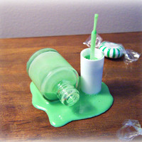 Fake Spilled Bottle Spring Green Nail Polish Fun by FakeFoodDecor