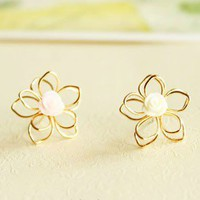 Fashion Sweet Resin Flower Stud Earrings