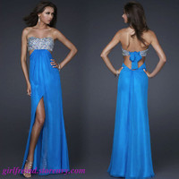 Elegant flowing chiffon sequins floor length gown -blue(3 colors in) from Girlfirend