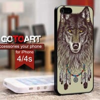 wolf dreamcatcher design for iPhone 4 or 4s Case