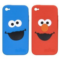 Amazon.com: i.Sound Elmo and Cookie Monster 2 Pack Silicone Case for iPhone 4 - AT&amp;T - 1 Pack - Retail Packaging - Red/Blue: Cell Phones &amp; Accessories