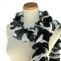 Hand Knit Ruffled Scarf  Black White Gray  Ying by ArlenesBoutique