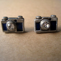 Camera Earrings Studs Blue by Bitsofbling on Etsy