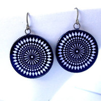 Mod Psychedelic Black and White Earrings OpArt by FireGrog