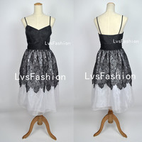 A Line Spaghetti Straps Knee Length Black Lace & Satin Party Dresses, Homecoming Dresses, Bridesmaid Dress, Evening Dress, Prom Dresses.