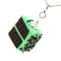 Cake necklace chocolate mint cake by inediblejewelry on Etsy