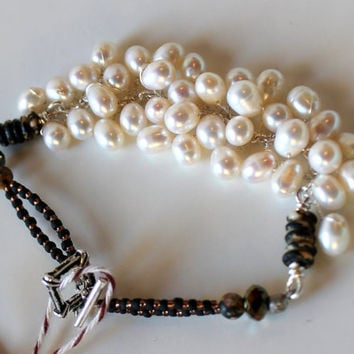 handmade pearl bracelet beaded Sterling silver wire by UniqueNecks