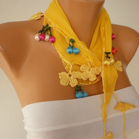 Yellow  Scarf Cotton Scarf Headband Woman Necklace by fatwoman-h02