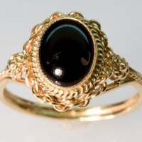 Oval Onyx Ring  in 14K Yellow Gold by FernandoJewelry on Etsy