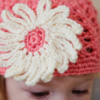 Darling Coral Hat with a Huge White Crocheted Flower by BglorifiedBoutique