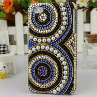 fancymall  luxurious multicolor totem Rhinestone retro pearl case for iphone 4/4s