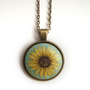 Sunflower Pendant Necklace, Retro Vintage Style, Charm, Tiny Flower Painting, Artist Jewelry