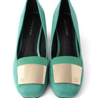 Faux Suede Heels with Metal Toe Cap in Teal Green$56