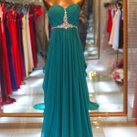 A-line Sweetheart Sweep Train Beaded Gorgeous Prom Dress