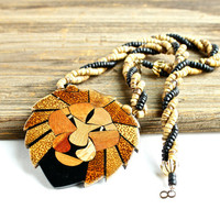 Vintage Wood Textured Lion Necklace - 1960s 1970s Statement Beaded Costume Jewelry / Fierce Lions Head