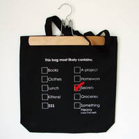 $22.00 Cotton Tote  This bag most likely contains...(with checkmark pin) by eggagogo