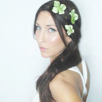 Green Hair flower hair clips Velvety Shimmer or Natural by deLoop