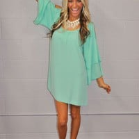 Restock Me Southern Belle Open Shoulder Mint Dress