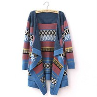 Folk Style Color Stripe Irregular Cape Cardigan Sweater