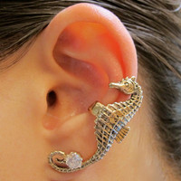 Bronze Seahorse Ear Cuff