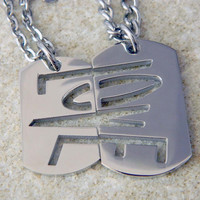 His Hers or Couples Love Dog Tag Necklaces