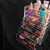 Acrylic Makeup Organizer Cube - 6 Tier Drawers Clear Plastic Box kardashian 