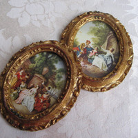 Vintage Florentine Italian Ornate Petite Gold Wood Frame Wall Art Set, Men Women Romantic Paris Apartment, Italy