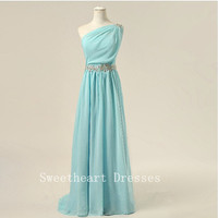 One-shoulder chiffon sashes appliques pleated long prom dress
