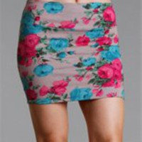 Tan/Fuchsia Floral Body Con Mini Skirt