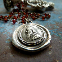 Nostradamus Intaglio Wax Seal Necklace. Garnet Sterling Silver Chain. Wax Seal Jewelry