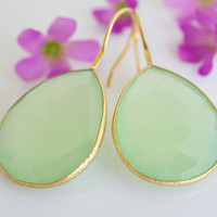 Large Faceted Bezel Set Green Chalcedony by BellissimoJewelry