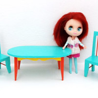 Dollhouse Dining Table and Chairs Set - Miniature Painted Dollhouse Furniture